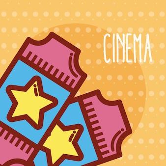 Conceito de bonito dos desenhos animados de cinema de ingressos