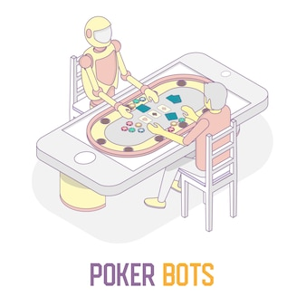 Conceito de bots de poker vector ilustração isométrica