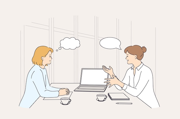 Conceito de brainstorm de discussão de reunião de negócios
