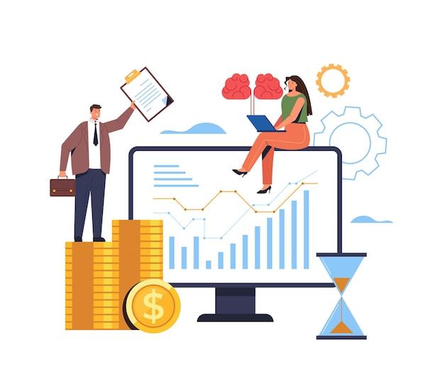 Conceito de brainstorm de gerenciamento de marketing de pesquisa de estatísticas de análise de negócios financeiros.