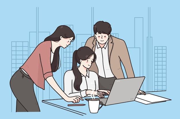 Conceito de brainstorm de trabalho em equipe para reunião de negócios