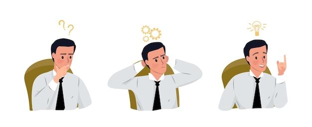 Conceito de brainstorm empresário geração de ideias inovadoras ilustração do pensamento criativo