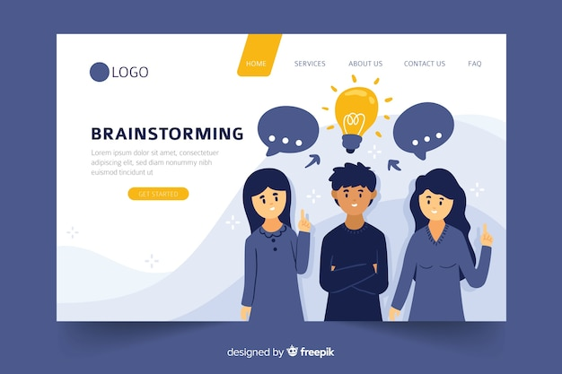 Conceito de brainstorming para landing page