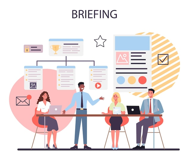 Conceito de briefing. reunião de negócios ou apresentação. funcionário fazendo apresentação na frente de um grupo de colegas de trabalho. apontando para o gráfico.