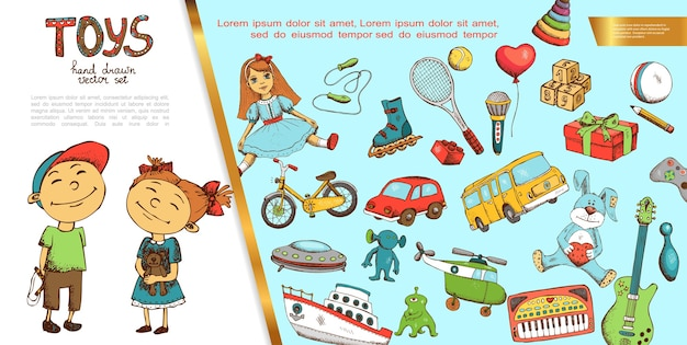 Conceito de brinquedos infantis desenhados à mão