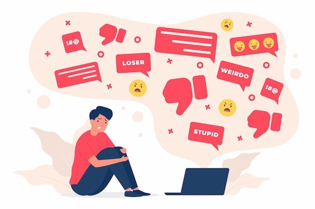 Conceito de bullying cibernético ilustrado