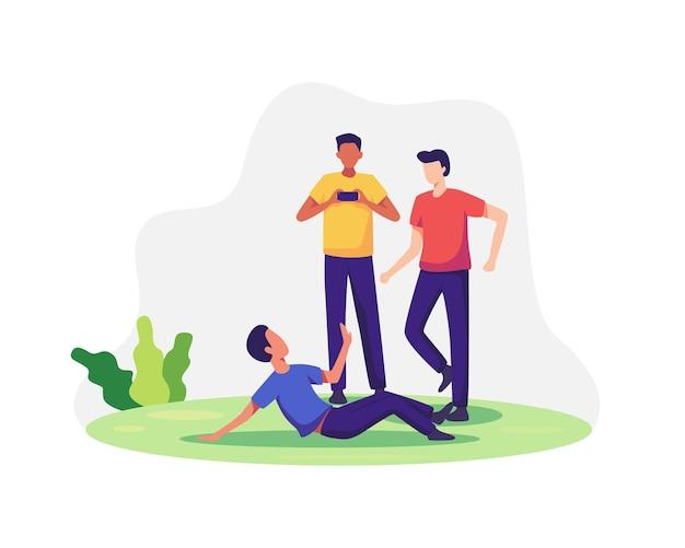 Conceito de bullying e abuso na adolescência. discriminação, racismo e comunicação negativa na escola e na sociedade. ilustração vetorial em estilo simples