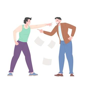 Conceito de bullying social entre trabalhadores de escritório. os jovens discutem entre si, acusando-se uns aos outros. ilustração vetorial.