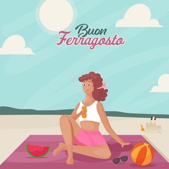 Conceito de buon ferragosto com mulher jovem e moderna, desfrutando de bebidas ao lado da praia.