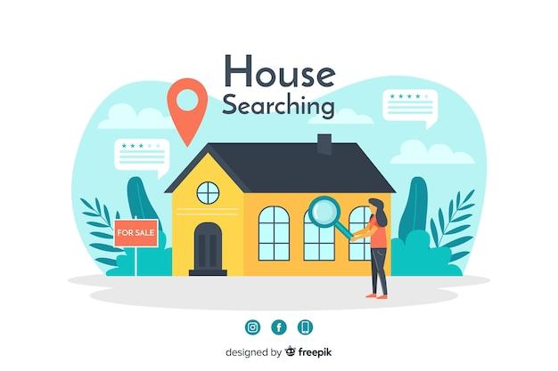 Conceito de busca de casa para a página de destino