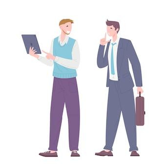Conceito de busca de ideias e manutenção do segredo da solução encontrada. trabalhadores de escritório discutindo o processo de trabalho. ilustração em vetor plana.