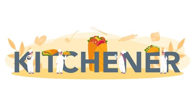 Conceito de cabeçalho tipográfico de comida de rua shawarma. chef cozinhando um delicioso rolo com carne, salada e tomate. café kebab de fast food.