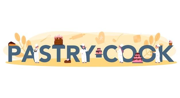 Conceito de cabeçalho tipográfico de cozinheira. chef pasteleiro profissional. doce padeiro cozinhar torta para férias, bolinho, brownie de chocolate. ilustração em vetor plana isolada