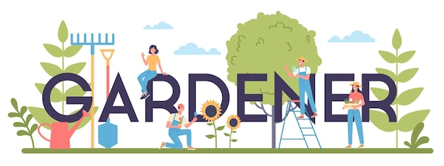 Conceito de cabeçalho tipográfico de jardineiro. idéia de negócio de horticultura. personagem plantando árvores e arbustos. ferramenta especial para trabalho, pá e vaso de flores, mangueira.