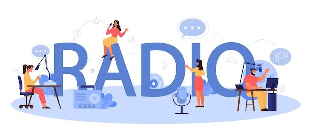 Conceito de cabeçalho tipográfico de rádio. ideia de notícia transmitida no estúdio. ocupação de dj. pessoa falando pelo microfone.