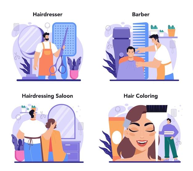 Conceito de cabeleireiro define ideia de cabeleireiro em tesouras e escova de salão de beleza