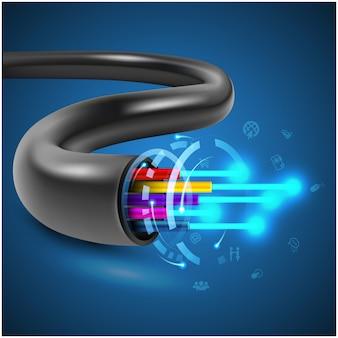 Conceito de cabo de fibra óptica para tecnologia de comunicação e elemento de conexão
