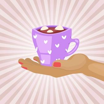 Conceito de café da manhã, café quente da manhã, bebida quente, cappuccino de aroma, segurar caneca quente, ilustração.