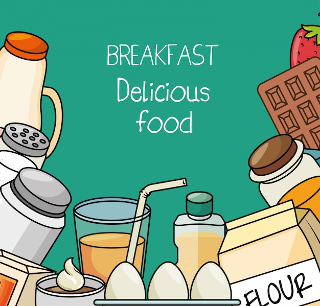 Conceito de café da manhã comida deliciosa
