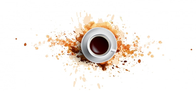 Conceito de café sobre fundo branco - copo de café branco, vista superior com salpicos de café em aquarela. mão desenhar e aquarela café ilustração com salpicos de arte bonita