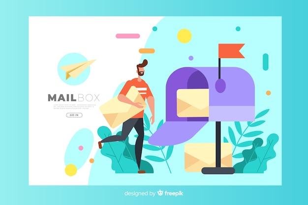 Conceito de caixa de correio para landing page