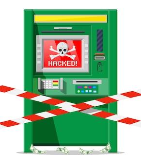 Conceito de caixa eletrônico hackeado, skimming, roubando dinheiro de caixa eletrônico. fora de serviço ou roubo, software de hackers criminosos no banco. malware de spyware. segurança do computador. ilustração vetorial plana