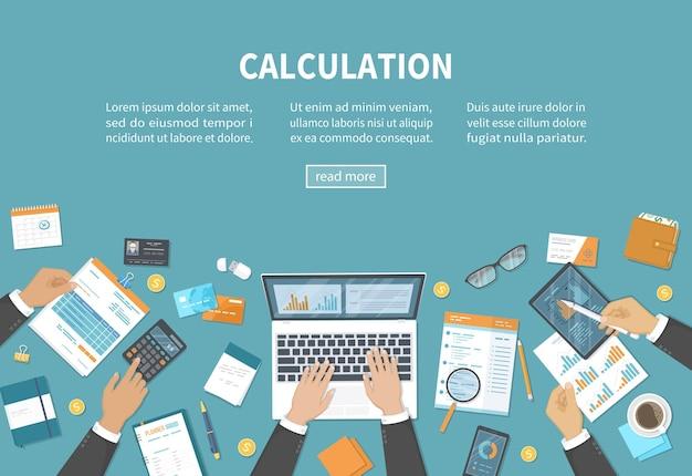 Conceito de cálculo análise de dados de auditoria contábil, relatórios de contabilidade tributária pessoas no trabalho