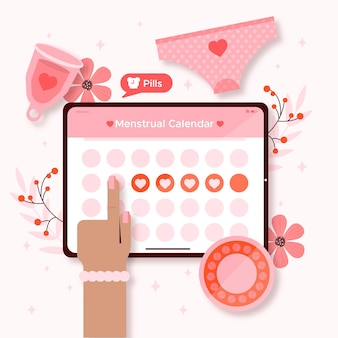 Conceito de calendário de menstruação