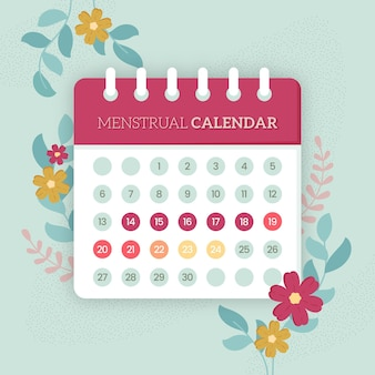 Conceito de calendário menstrual com flores