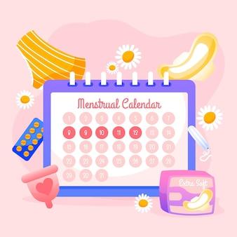 Conceito de calendário menstrual com produtos