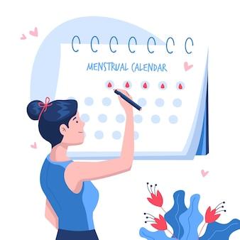 Conceito de calendário menstrual