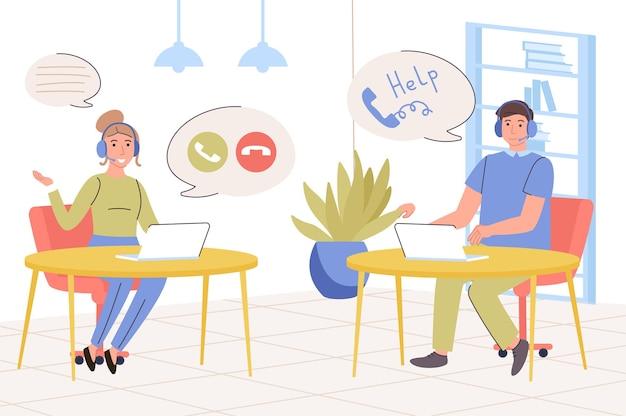 Conceito de call center a equipe de suporte atende chamadas e mensagens resolvendo problemas do cliente
