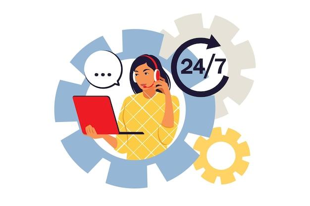 Conceito de call center. serviços e comunicação ao cliente, suporte ao cliente, assistência por telefone. ilustração vetorial. plano