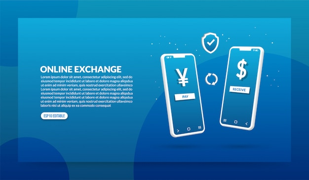 Conceito de câmbio online, transação de pagamento digital via aplicativo