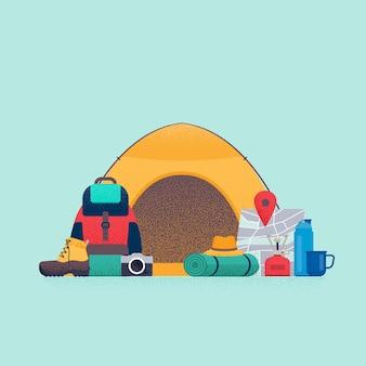 Conceito de caminhada equipamento para acampamento no verão