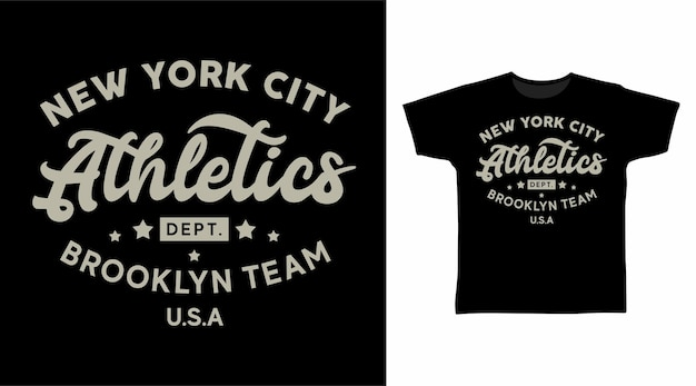 Conceito de camiseta de tipografia da equipe de atletismo do brooklyn