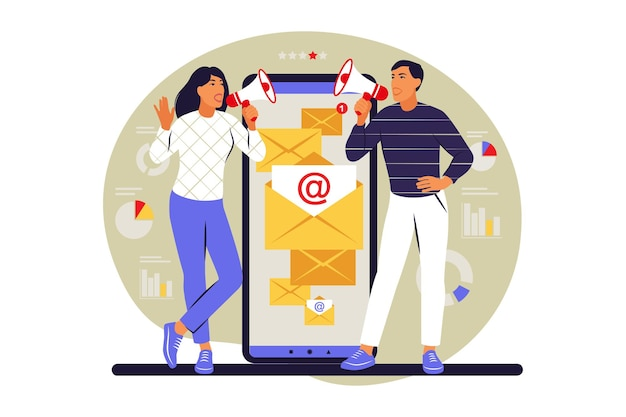 Conceito de campanha de e-mail. inscrição. as pessoas usam e-mail marketing no smartphone. ilustração vetorial. plano.