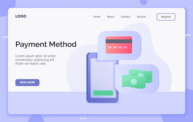 Conceito de campanha de método de pagamento para aterrissagem de modelo de site ou site da página inicial. estilo moderno desenho animado.