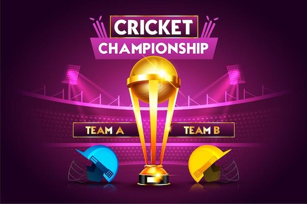 Conceito de campeonato de críquete com capacete de críquete e troféu da taça vencedora