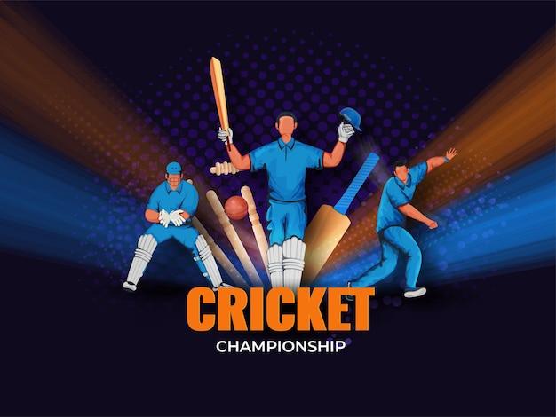 Conceito de campeonato de críquete com jogadores de críquete sem rosto em pose de ação no fundo roxo de meio-tom.