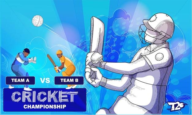 Conceito de campeonato de críquete com participantes da equipe em fundo azul abstrato.