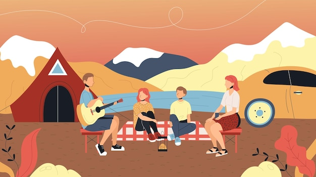 Conceito de campismo e paisagens de verão. personagens estão tendo um bom tempo ao ar livre. família está sentada perto do acampamento e cantando músicas com guitarra. estilo simples dos desenhos animados. ilustração vetorial.