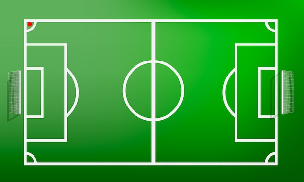 Conceito de campo de futebol de vista superior, estilo realista