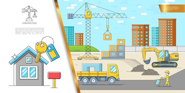 Conceito de canteiro de obras colorido com caminhão-escavadeira, guindaste, construtor de edifícios, casa nova e chaves em ilustração de estilo linear