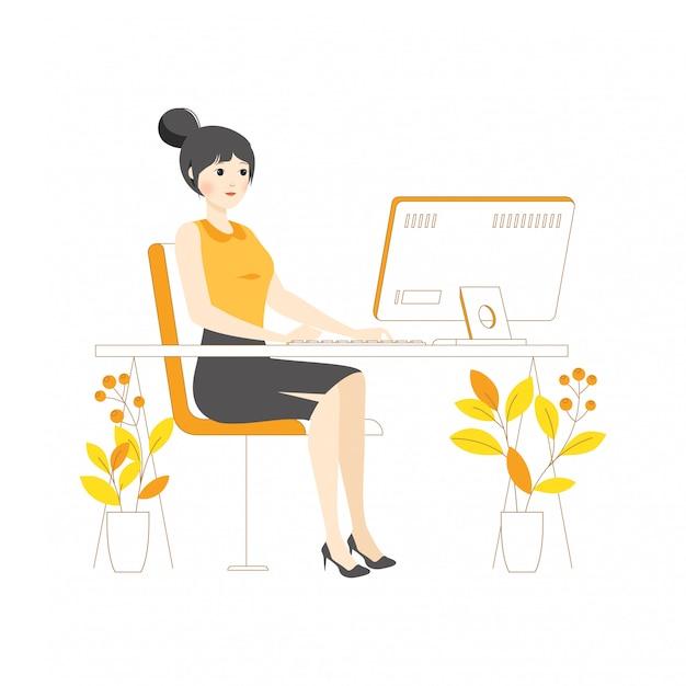 Conceito de caráter linear menina mulher trabalho de ilustração em digitação de computador desktop