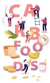 Conceito de carb foods. dieta saborosa e deliciosa para ganhar peso com lanches e junk. ilustração plana dos desenhos animados