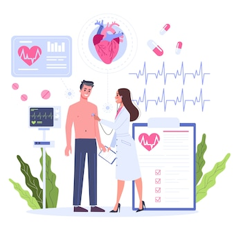 Conceito de cardiologia. ideia de cuidados cardíacos e exame médico. os médicos examinam o coração do paciente. órgão interno. ilustração