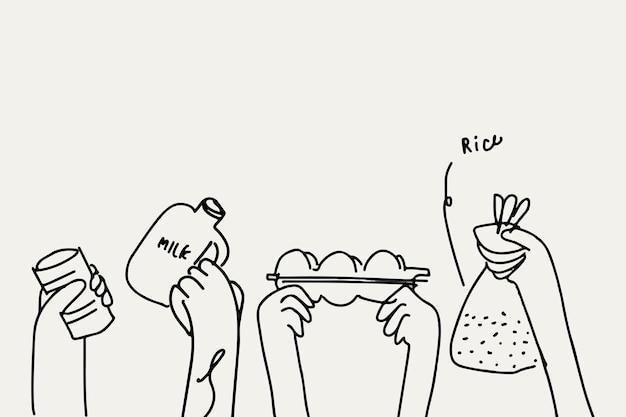 Conceito de caridade de vetor de doodle de doação de alimentos