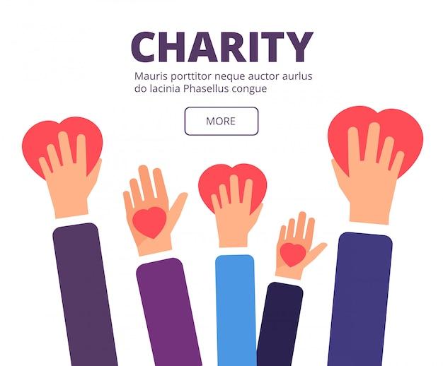 Conceito de caridade e doação. voluntário mãos segurando corações vermelhos. cartaz de vetor de ajuda humanitária, assistência médica e generosidade