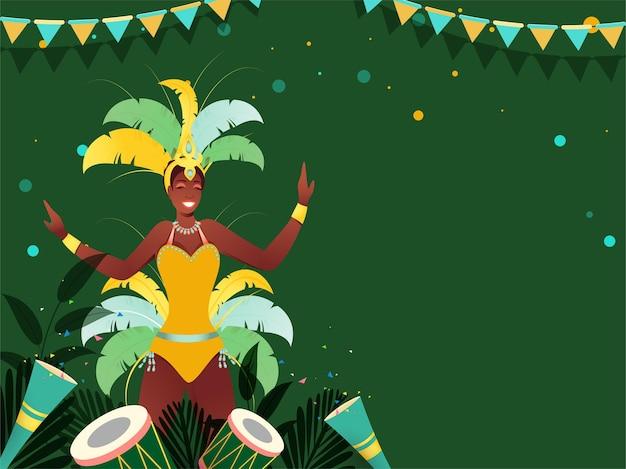 Conceito de carnaval brasileiro com personagem de dançarina de samba, instrumentos de bateria, leafes e popper de festa
